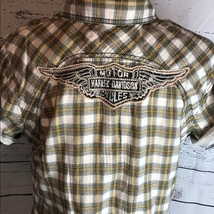 Harley Davidson Fitted Plaid Snap Up Shirt